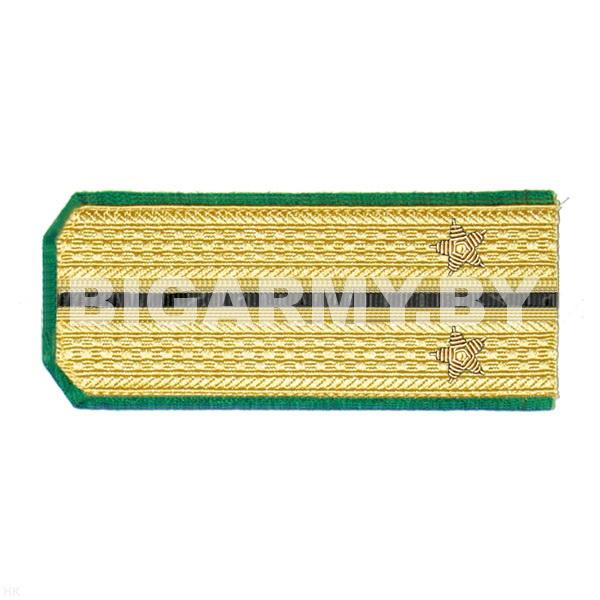 Погоны парадные золотые (шелк) с зел. кантом с 1 черн. просв., вышит. канителью (лейтенант)