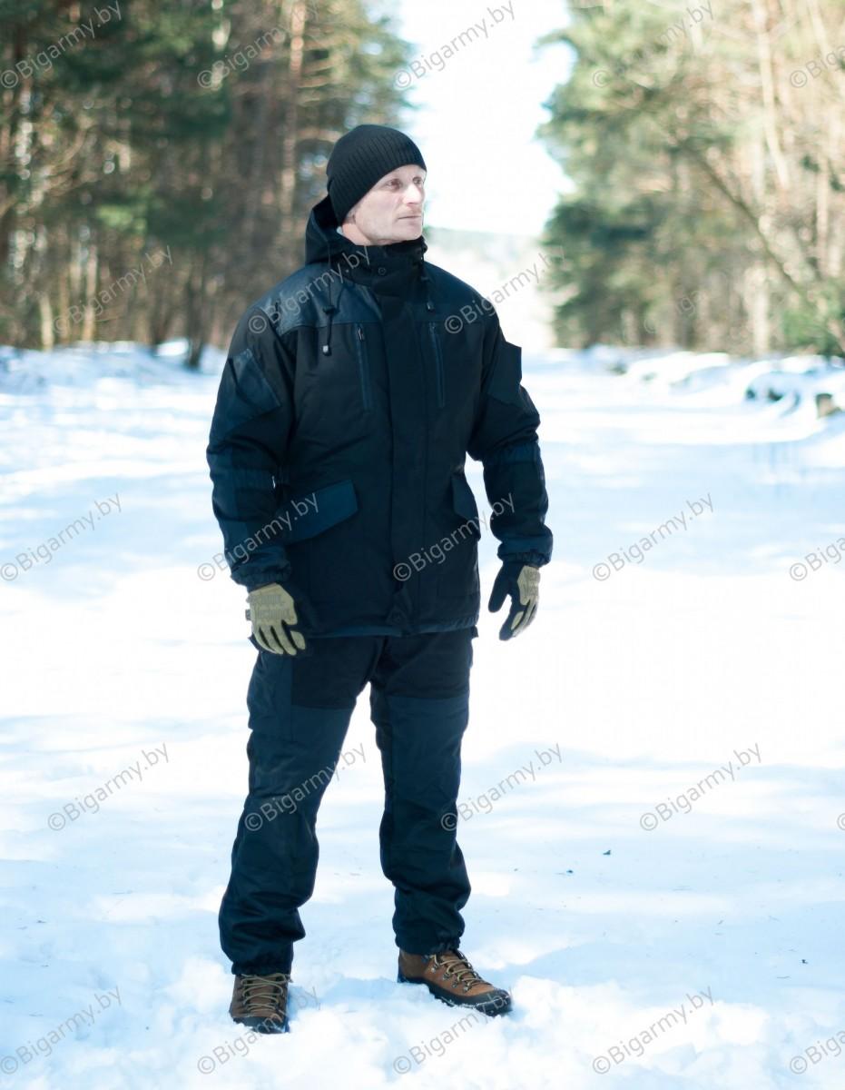 Костюм горка 5 Черная (слой утеплителя+флис) Рип-Стоп