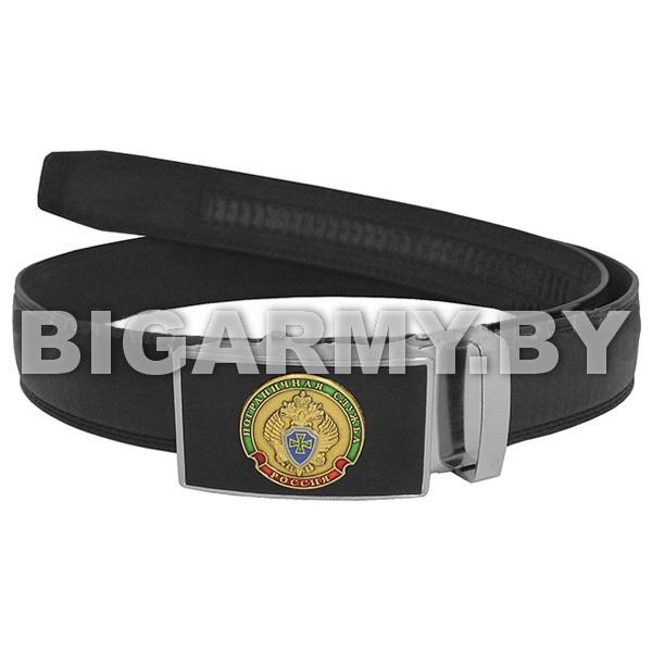 Ремень брючный кожаный черный с цветной бляхой Пограничная служба