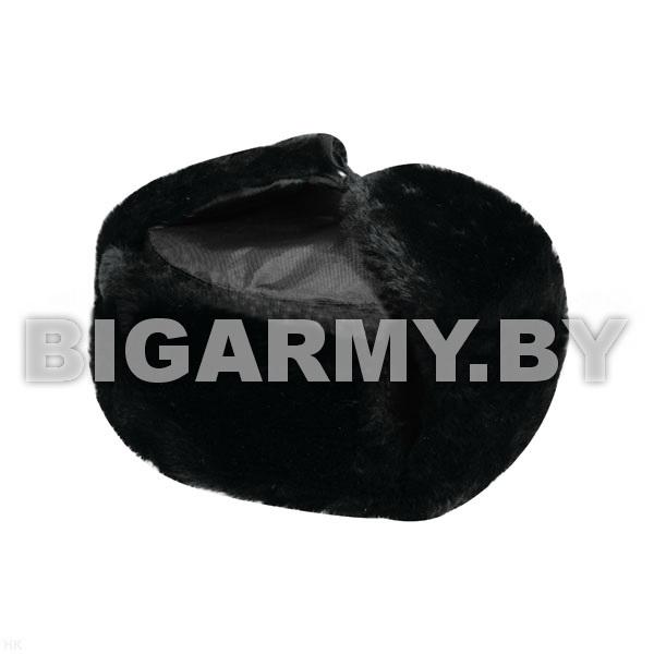 Шапка искусственный мех черный, верх - ткань черная (оксфорд)