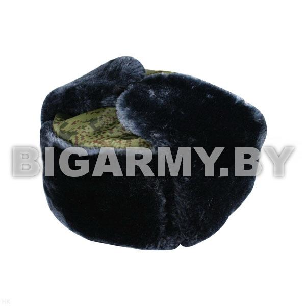 Шапка искусственный мех серая с голубым отливом, верх - ткань Русская цифра (оксфорд)