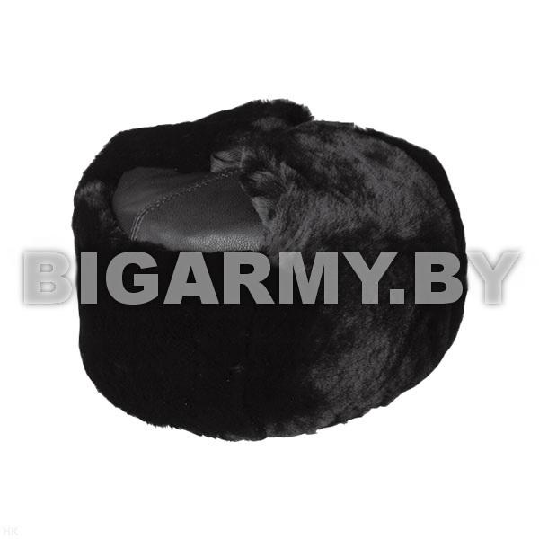 Шапка натуральный мех (овчина) черная, верх - кожа