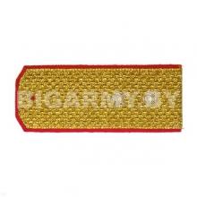 Погоны парадные золотые (металлиз.) с красн. кантом, вышит. канителью (прапорщик)