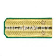Погоны парадные золотые (шелк) с зел. кантом с 1 черн. просв., вышит. канителью (ст. лейтенант)