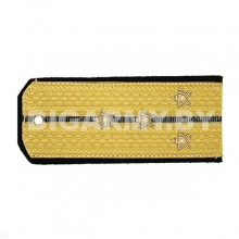 Погоны парадные золотые (шелк) с 1 черн. просв., вышит. канителью (капитан)