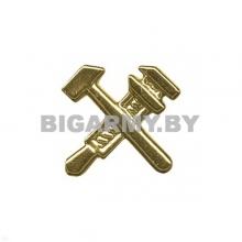 Эмблема петлица пластмассовая РЖД (молоточки) золотая