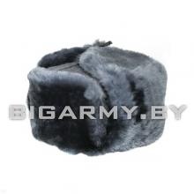 Шапка овчина натуральный мех серо-голубой