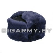 Шапка овчина натуральный мех синий, синее сукно