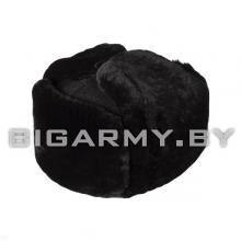 Шапка овчина натуральный мех черный, черное сукно
