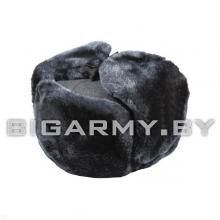 Шапка мех искусственный серый с голубым отливом
