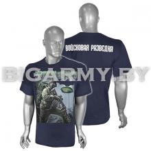 Футболка  Войсковая разведка спецназовец , зеленый берет синяя