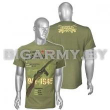 Футболка Пистолет-пулемёт Шпагина оливковая ЗD