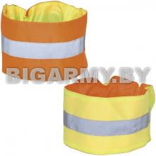 Повязка сигнальная двухсторонняя оранжевая/желтая на резинке на рукав