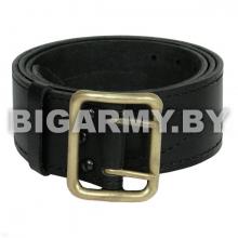 Ремень офицерский кожаный черный (с латунной пряжкой)
