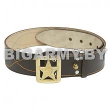Ремень генеральский кожаный коричневый со штампованной пряжкой Звезда СА (с лучами)
