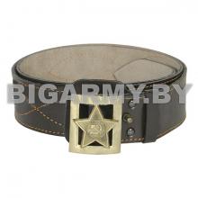 Ремень генеральский кожаный с литой пряжкой Звезда СА (с лучами) коричневый