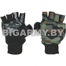 Рукавицы-перчатки с обрез. пальцами (флисовые двойные) 4-х цветные зеленые