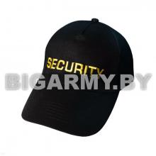 Бейсболка  Security черная вышитая желтой нитью