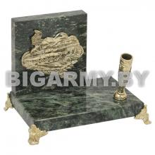 Письменный прибор (литье бронза, камень змеевик) с накладкой Танк