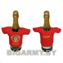 Рубашечка на бутылку сувенирная вышитая СССР (герб) красная