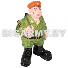 Фигурка гипсовая МЧСник с АК за спиной (в кмф зеленой форме)