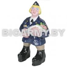 Фигурка гипсовая Дама - сотрудник Полиции с букетом цветов